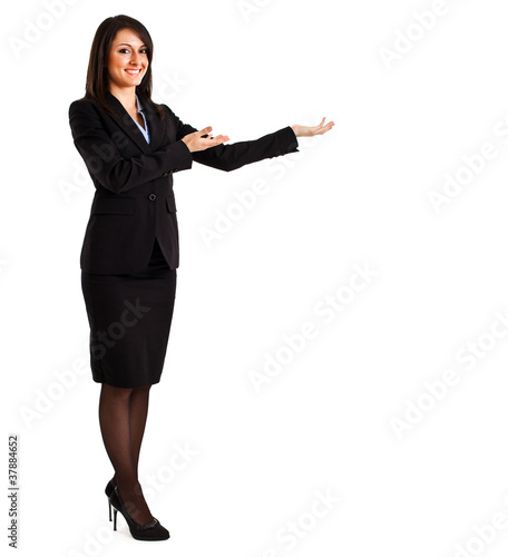 Businesswoman pointing at something
