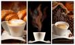 Colazione con caffè cappuccino e brioches