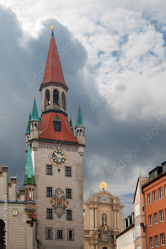 View of old town hall at Marienplatz in Munich Germany.