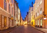 Fototapety Evening street in the Old Town in Tallinn, Estonia