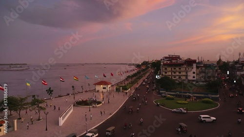 Time lapse of streets and river in Phnom Penh, Cambodia