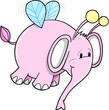 Cute Safari Bumble Bee Pink Elephant Vector