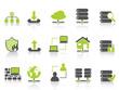 green network server hosting icons