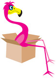 Flamingo sitting in a moving box poster