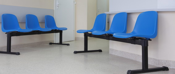 waiting room blue chairs on the floor