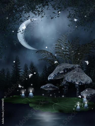 Zaczarowany staw ze świeczkami i motylami