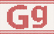 Red knitted Letter g on beige Background