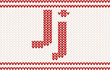 Red knitted Letter j on beige Background