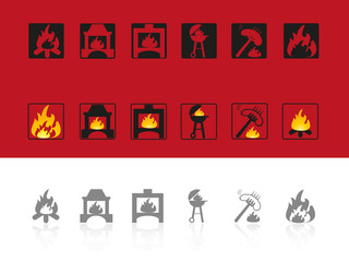 Set of icons for use of fire