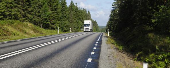 trucking on scenic road, panoramic view