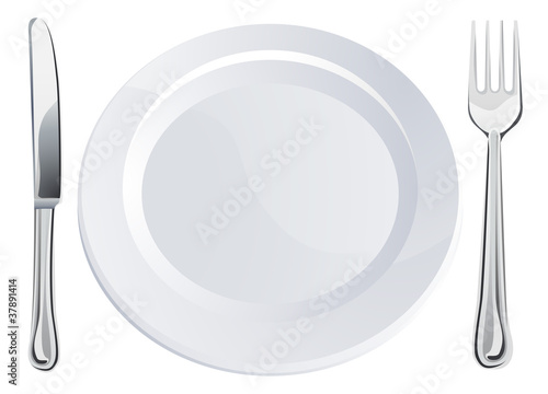 Empty plate and knife and fork cutlery - 37891414