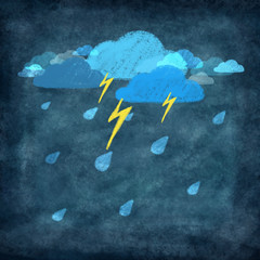 weather icon ,rainy day with storm and thunder