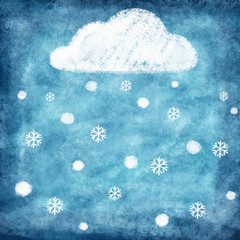 weather icon drawing on chalkboard ,snow winter