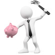 Businessman breaking a piggy bank with a hammer