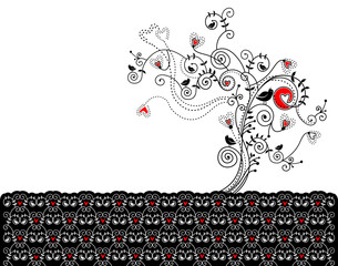 Vector illustration with a tree hearts and birds