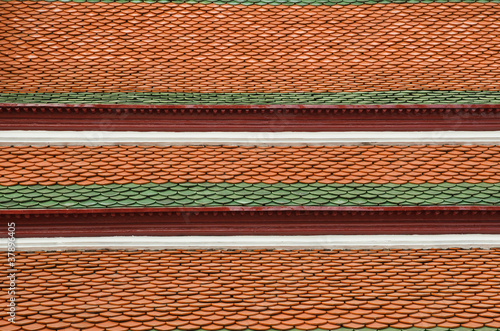 Tile Roof of Galleries in Temple of The Emerald Buddha Wat Phra