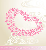 eps Vector image:a flurry of falling cherry blossoms.heart poster