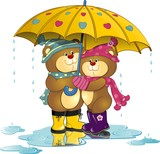 Bears in love with umbrella