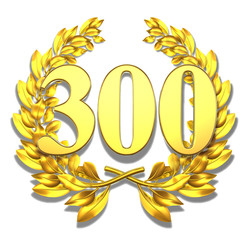 300 threethundred number laurel wreath