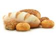 Leinwandbild Motiv Composition with bread and rolls isolated on white