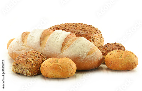 Composition with bread and rolls isolated on white - 37898622