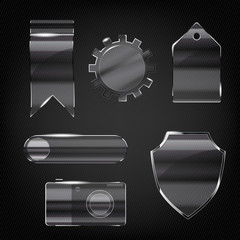Set of glass transparent icons for any non-white background