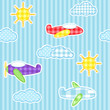 Blue seamless pattern with cute planes, clouds and sun