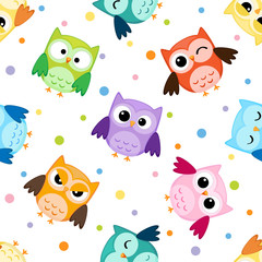 Seamless pattern with colorful owls © m_yulia