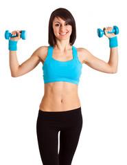 Beautiful latin fitness woman exercising isolated