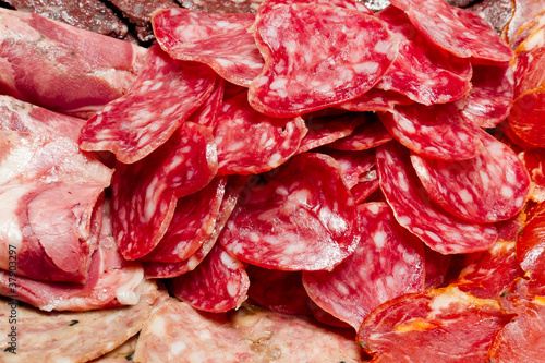 a lot of Spanish serrano ham iberico