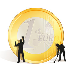 Cleaning of big Euro coin