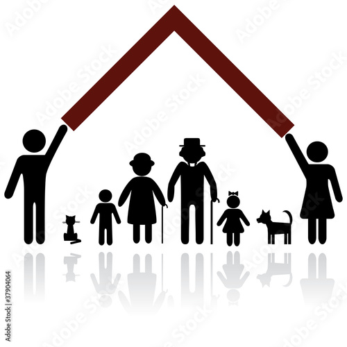 Protection people silhouette family icon