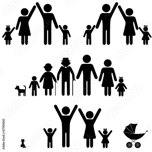People silhouette family icon. Person vector woman, man.