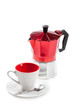 Coffee cup and moka (italian coffee maker), on white
