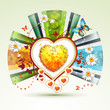 Valentine's day card. Heart with daisy and butterfly