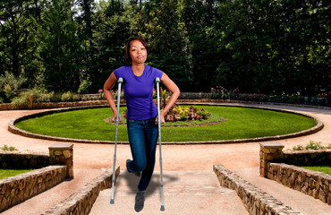 Black Woman on Crutches