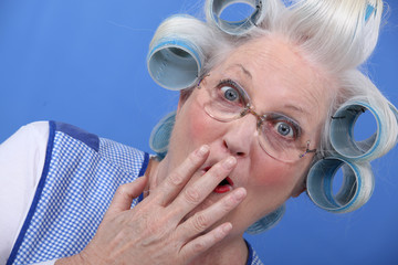 Shocked grandma with hair rollers