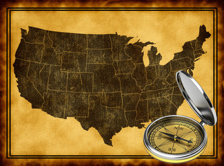 Map of USA with compass