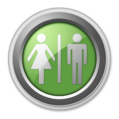 "Green 3D Style Button ""Restrooms"""