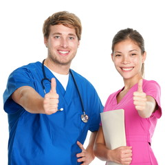 Nurse and doctor team happy thumbs up
