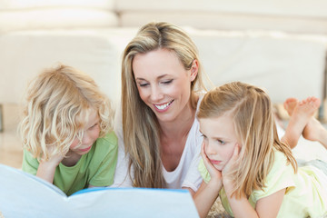 Mother reading story for children