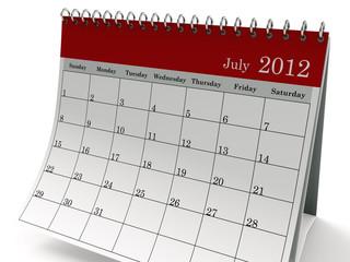 Calendar 2012 July