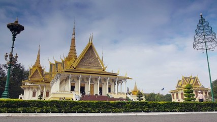 Tourists visiting Royal Palace in Phnom Penh, Cambodia
