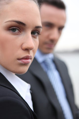 Close-up shot of business professionals