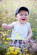little boy in a flower meadow