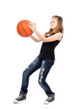 Girl playing basketball