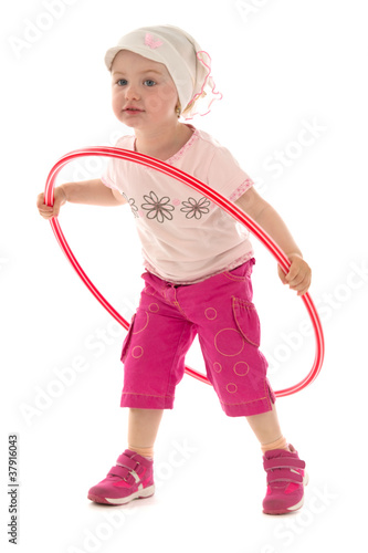 Girl and hula hoop