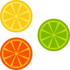 orange, lime, lemon
