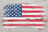 Fototapety flag of USA on grunge wooden texture painted with chalk