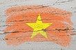 flag of vietnam on grunge wooden texture painted with chalk